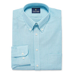 Stafford Travel Wrinkle-Free Oxford Long Sleeve Oxford Stripe Dress Shirt