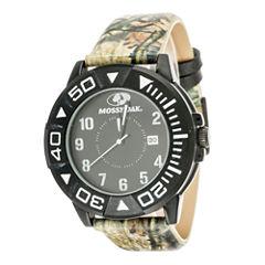 Mossy Oak® Mens Black Bezel Camouflage Leather Strap Sport Watch