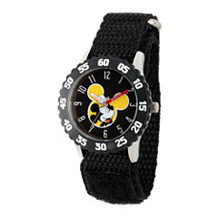 Disney Mickey Mouse Boys Black Strap Watch-Wds000154
