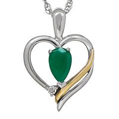 Genuine Emerald and Diamond-Accent Heart Pendant Necklace