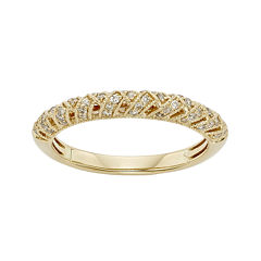 1/4 CT. T.W. Certified Diamond 14K Yellow Gold Crossover Wedding Band