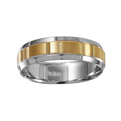 Mens 6mm 10K Two-Tone Gold Wedding Band