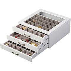 Mele & Co. Liza Glass Top White Jewelry Box