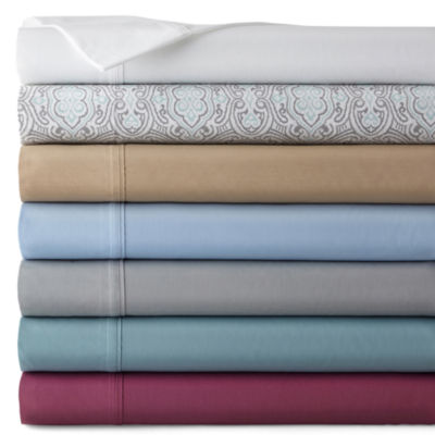 jcpenney home 300tc easy care solid sheet set - California King Bed Sheets