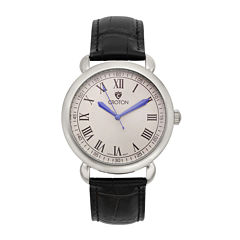 Croton Mens Silver-Tone Stainless Steel Black Leather Strap Watch