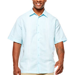 Havanera Short Sleeve Panel Button-Front Shirt-Big and Tall