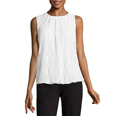 Liz Claiborne Sleeveless Crew Neck Bubble Blouse