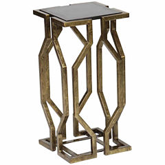 Geometric Pattern With Granite Top Chairside Table