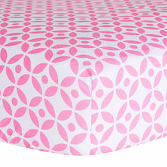 Trend Lab® Pink Lily Lattice Fitted Crib Sheet