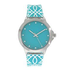Womens Silver-Tone Print Strap Watch
