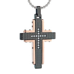 Mens Cubic Zirconia Black Stainless Steel and Rose IP Textured Cross Pendant Necklace