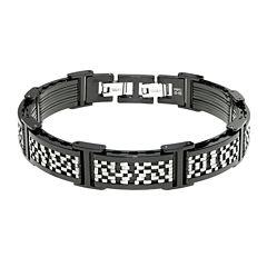 Mens Black IP Stainless Steel Chain Bracelet with Lock Extender