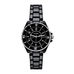 Hampden  Womens Black Silver-Tone Personalized Bracelet Watch