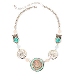 Arizona Silver-Tone Owl Bead Strand Necklace