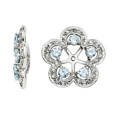Diamond Accent and Heat-Treated Aquamarine Sterling Silver Earring Jackets