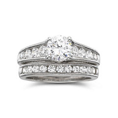 DiamonArt® Cubic Zirconia Bridal Set Sterling Silver