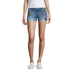 Blue Spice Patched Fray Hem Shorts-Juniors