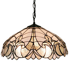 Amora Lighting AM206HL18 Tiffany style floral white hanging lamp 18 in wide