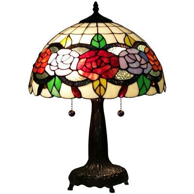 Elegant Amora Lighting AM032TL14 Tiffany Style Floral 20 Inch Table Lamp