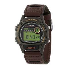Casio® Illuminator Mens Brown Nylon/Leather Strap Sport Watch W94HF-3AVOS