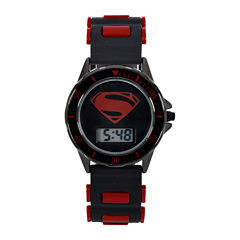 DC Comics® Batman vs. Superman LCD Dial Black and Red Silicone Strap Watch