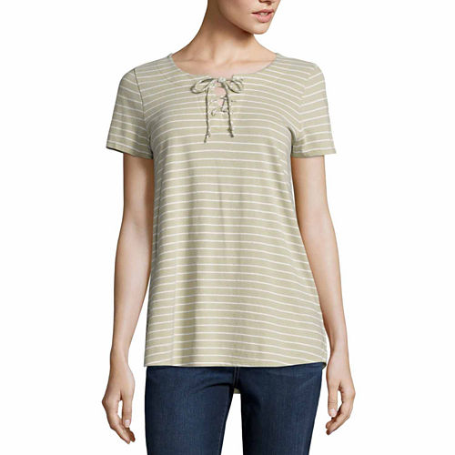 St. John's Bay Short Sleeve T-Shirt-Womens Talls