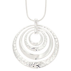 Liz Claiborne® Hammered Orbital Silver -Tone Necklace