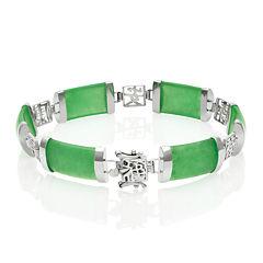 Genuine Jade Sterling Silver Bracelet