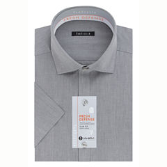 Van Heusen Short Sleeve Woven Pattern Dress Shirt - Slim
