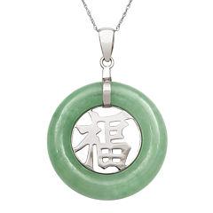 Genuine Jade Sterling Silver Pendant Necklace