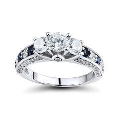 DiamonArt® Cubic Zirconia and Lab-Created Blue Sapphire 3-Stone Ring