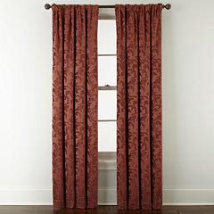 Royal Velvet® Chenille Scroll Rod-Pocket/Back-Tab Curtain Panel
