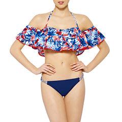Arizona Floral Off the Shoulder Bandeau Swimsuit Top or Hipster Bottom-Juniors