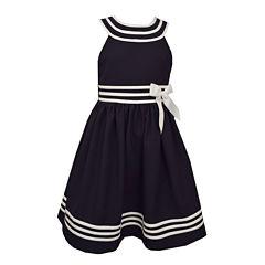 Bonnie Jean Navy U-Neck Sailor Dress w/ Banded Waist and Hem Plus - Big Kid