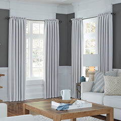 JCPenney Home Made-To-Length Textured Blackout Rod-Pocket Poly-Cotton Lined Curtain Panel