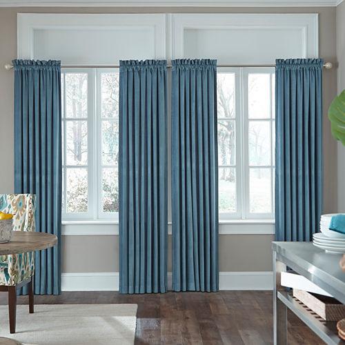 JCPenney Home Made-To-Length Velvet Rod-Pocket Unlined Curtain Panel
