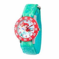 Disney The Little Mermaid Girls Green Strap Watch-Wds000046