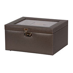 Mele & Co. Pewter Glass Top Faux Leather Jewelry Box
