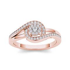 1/5 CT. T.W. Diamond Swirl 10K Rose Gold Engagement Ring