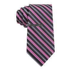 JF J. Ferrar® Mini- Striped Tie and Tie Bar Set - Extra Long