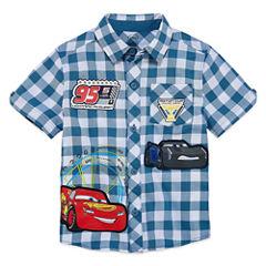 Disney Short Sleeve Button-Front Shirt Boys