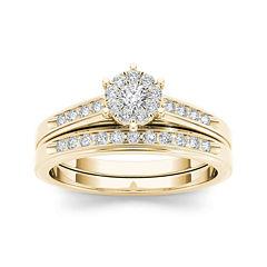 1/2 CT. T.W. Diamond 10K Yellow Gold Bridal Set Ring
