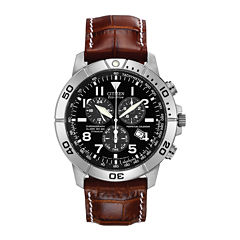 Citizen® Eco-Drive® Mens Brown Leather Strap Chronograph Watch BL5250-02L