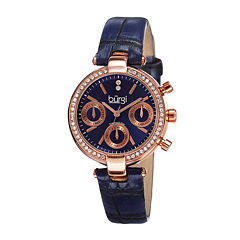 Burgi Womens Diamond Accent Rose-Tone Blue Strap Watch