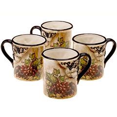 Certified International Tuscan View Set of 4 Mugs