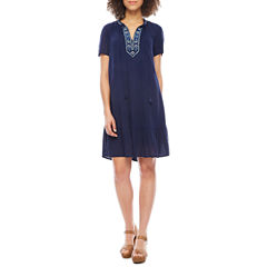 Luxology Short Sleeve Embroidered Shift Dress