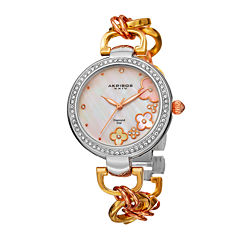 Akribos XXIV Womens White Dial Tri-Tone Gold Fiora Bracelet Watch