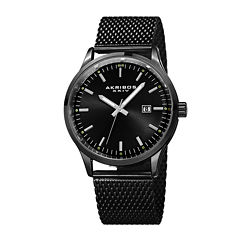 Akribos XXIV Omni Mens Black Stainless Steel Bracelet Watch