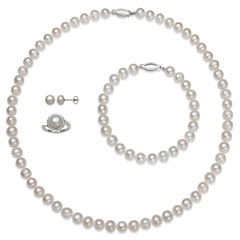 Womens 4-pc. Pearl Sterling Silver Jewelry Set