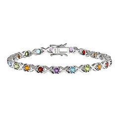 Multi Gemstone Sterling Silver Bracelet
